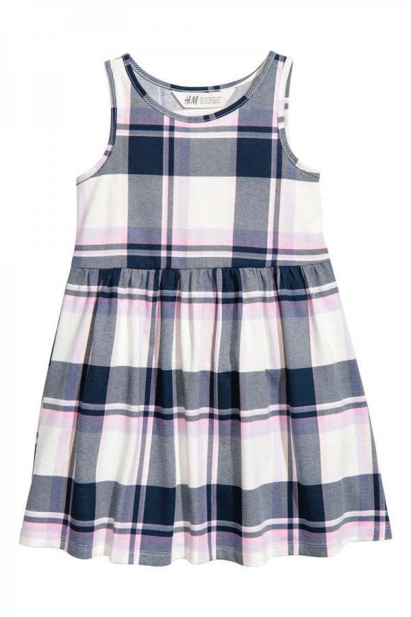 HM-Sleeveless-Checked-Jersey-Dress-Navy-Blue