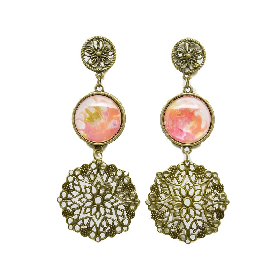 41-Q-46 Quaintrelle Halcyon filigree earrings peach 1