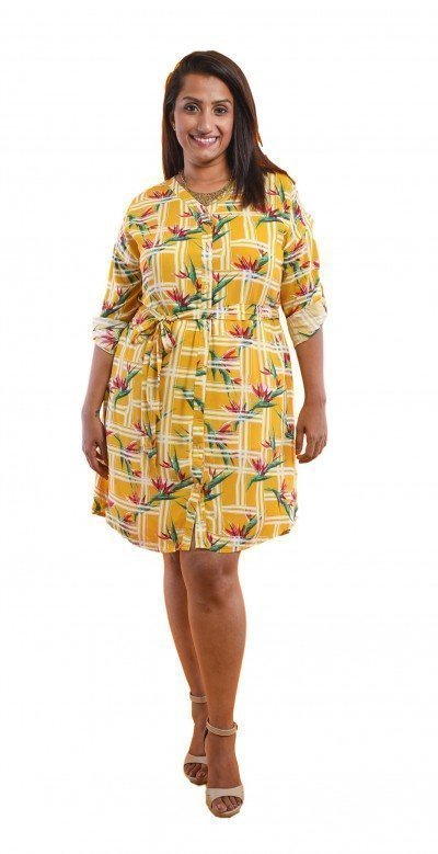 126-2019170011 The Curve Closet Shirt Viscose Dress - Yellow Yellow 1